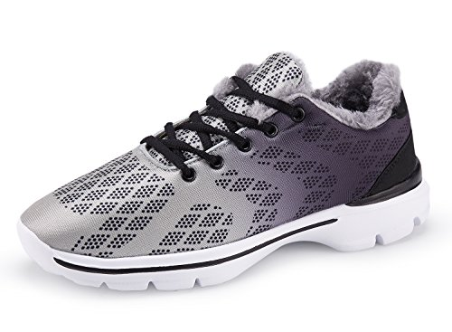UMmaid Hommes Hiver Chaussures Sneakers En Plein Air Fausse Fourrure Chaud Doublé Neige Chaussures Bas Top Casual Chaussures De Marche 1.Gris