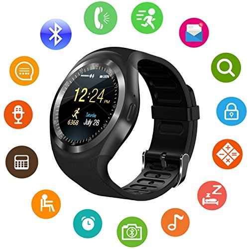 IKJ Y1 Unisex Bluetooth 4g Smart Watch For Men / Boys / Girls / Women | Facebook / Whatsapp Messaging / 4g Sim Card Support / Touch Screen / Compatible with All Samsung, Xiaomi, Lenovo, Oppo Android / iOS Apple iPhone Mobile Phones(color may vary)