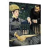 Bilderdepot24 Kunstdruck - Alte Meister - Édouard Manet - Im Wintergarten - 60x80cm Einteilig - Leinwandbilder - Bilder als Leinwanddruck - Bild auf Leinwand - Wandbild