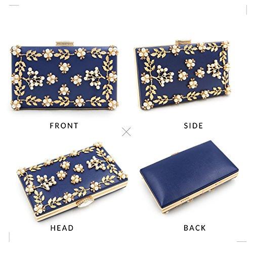Milisente Frauen Perle Wulst Blumen Clutch Tasche Damen Abendtaschen Hochzeit Handtasche (Rosa) Blau