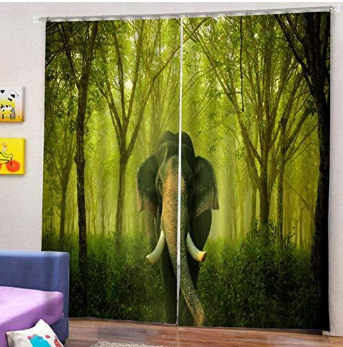 xszhqxxla Schlafzimmer 3D Vorhänge, Wald Elefant Dekorative Vorhang, Schlafzimmer Wohnzimmer Schule Tier Dekorative Vorhang 180X250Cm (Dekorative Vorhänge Für Schlafzimmer)