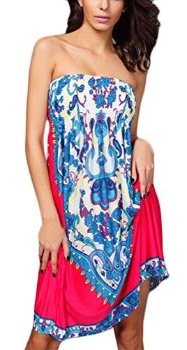 Frauen Bandeaukleider Knielang Trägerlos Rückenfrei Blumendrucken Muster Elegant Strandkleid Taille Stretch Loose Retro Unique Sundress Druckkleider Rosa