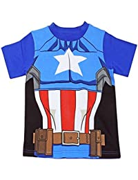 Captain America T-Shirt Official Marvel Avengers Kids Costume Clothing (6-7 Years, Captain America 54359)