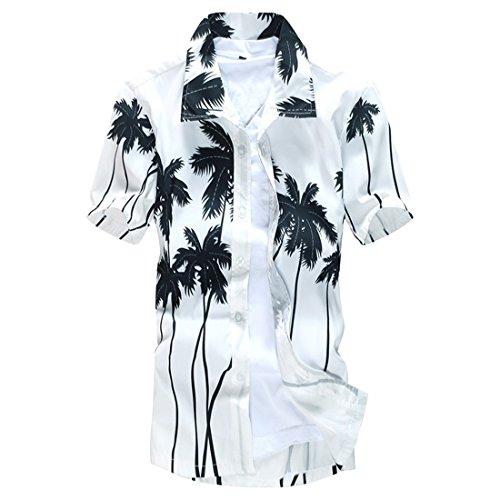 Ai.Moichien Herren Strandhemd Pflanze Druck Kurzarm Schnell trocken Beiläufig Loose Plus Size M-5XL Shirt Tops (Frei-haus-pflanzen)