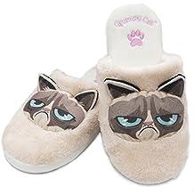 Piel sintética de peluche Oficial de Gruñón Cat Slip On mula Zapatillas zapatos de interior