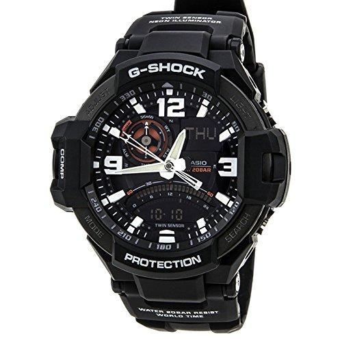 Casio GA1000-1A 50mm Black Leather Men's Watch