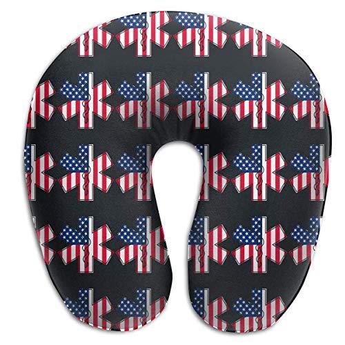 Nifdhkw EMT and Paramedic Star of Life American Flag Travel Pillow Memory Foam Neck Car Airplane Comfortable U Shape Pillow -