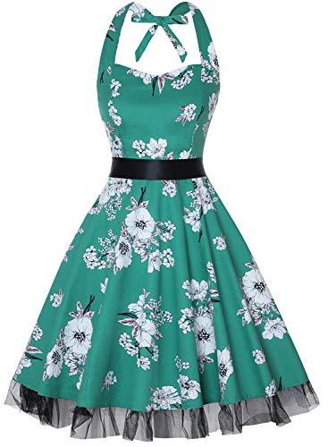 oten Damen Neckholder Kleid Schwarz Schwarz Gr. L, Green White Floral White Floral-kleid