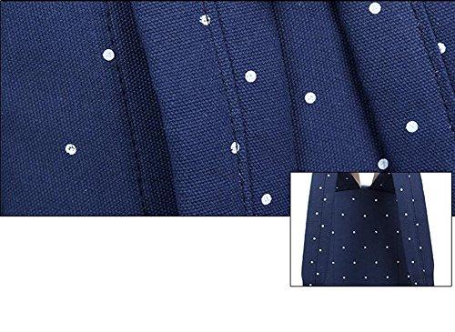 LAAT Packung von 3 Student Casual Schultasche Canvas Schulter Rucksack leichte Laptop Tasche Schultertasche Geldbörse Unisex blau