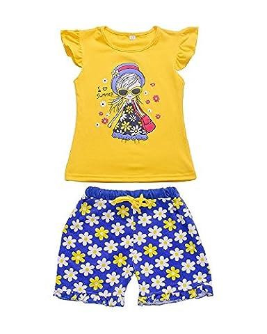 Yilaku Ensembles shorts et haut Fille Vêtements dessin animé T-shirts et Shorts (3-4 ans, Jaune)