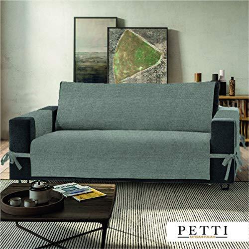 Petti, Artigiani Italiani - Copridivano 3 posti grigio, 100% Made in Italy, con elastici e tasche laterali (grigio, 3 Posti (170-175 cm da bracciolo a bracciolo))