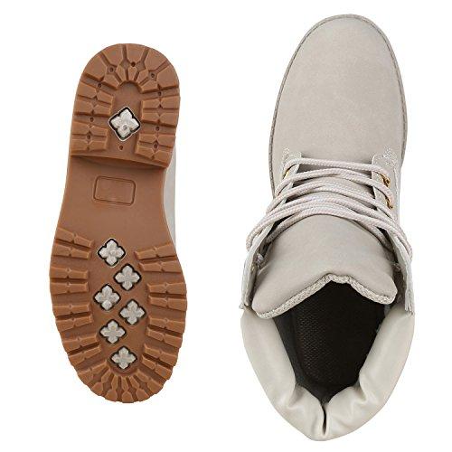 napoli-fashion Damen Herren Schuhe Kinder Schuhe Stiefeletten Worker Boots Outdoorschuhe Schnürstiefel VanHill Creme New