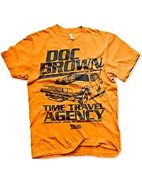 Officiellement Sous Licence Doc Brown Time Travel Agency Hommes T-Shirt (Orange)