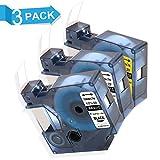 3 Etikettenband Kompatibel für Dymo D1 S0720500 S0720530 S0720580 12 mm x 7 m für Drucker Dymo LabelManager 120P 160 210D 260P 280 350 360D 420P 500TS LabelPoint 150 200 250 350 LabelWriter 450 Duo