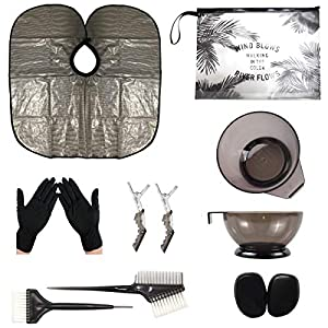 xnicx Second-Generation Black Hair Dye Kit Hair Dye Coloring DIY Beauty Salon Tool Kit- Hair Tinting Bowl,Brush Comb,Ear Cover,Hair Salon,Hair Coloring Cape,Gloves