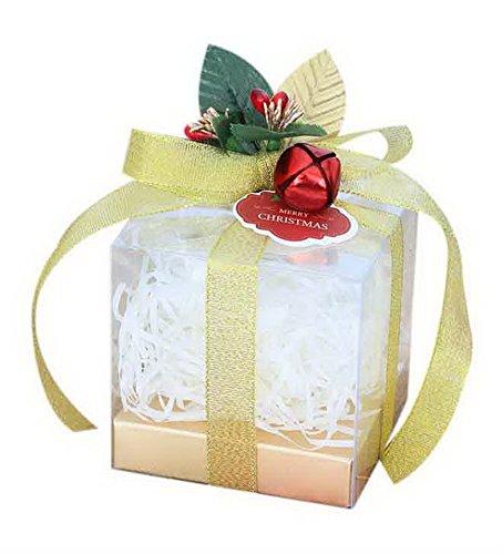 (Koala Superstore 10 Stück Weihnachten Apple Boxen Transparent Geschenk Verpackung Box Gelbes Band + Glocken)