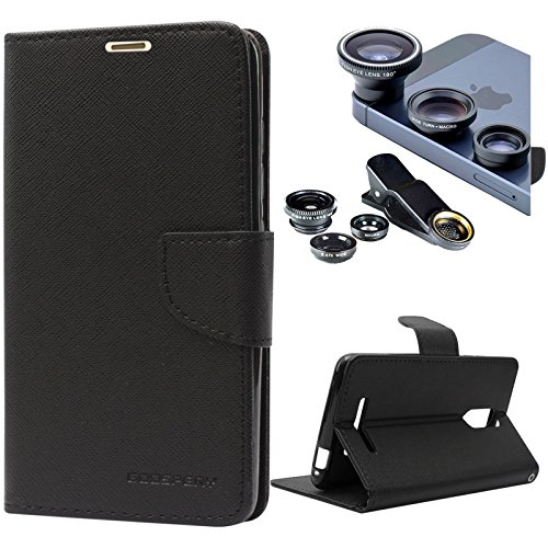 DMG Diary PU Leather Flip Cover Wallet Stand Case for Xiaomi Redmi Note 3 (Black) + 3in1 Fisheye Wide Angle and Macro Lens