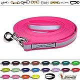 Schleppleine aus 19 mm breiter Reflex-Biothane / 20 Farben [Neon-Pink-Reflex] / 1-30 Meter [5m] / genäht / mit Handschlaufe