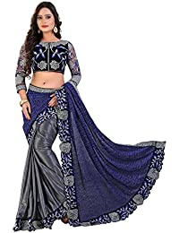 Siddeshwary Fab Women Blue And Grey Embroidered Floral Designer Bridal Saree For Women