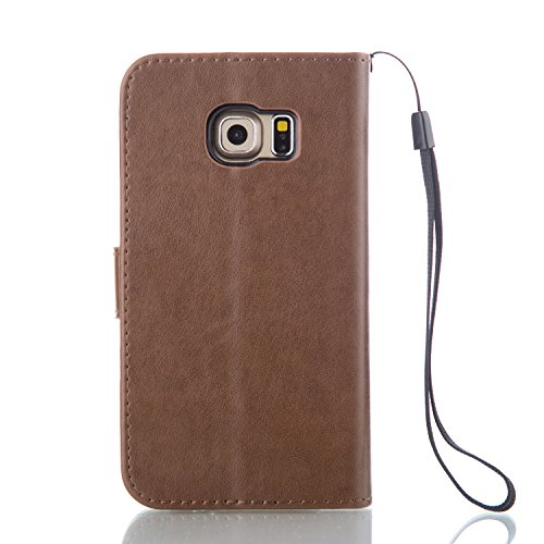 Coque Etui pour Galaxy S6, Galaxy S6 Coque Painted Relief Portefeuille PU Cuir Etui, Galaxy S6 Coque de Protection en Cuir Folio Housse, Galaxy S6 Leather Case Wallet Flip Cover Protector, Ukayfe Etui Papillon-Light Brown