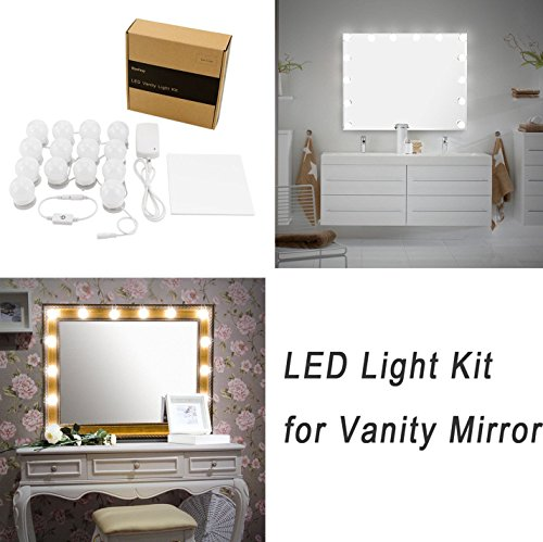 Luces LED Para Espejo WanEway, Estilo Hollywood, Kit De Luces Para Maquillaje Cosmético, Con Regulador De Intensidad Y Fuente De Poder, 14 bombillas LED, Espejo No Incluido