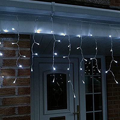 10 Metre LED Icicle Lights, Cool White, High Quality Outdoor Christmas Lights / Xmas Lights, Low Voltage Icicles, Multifunction with Snowing, Chasing, Twinkle, Static Effects, Etc by Bright Lightz®
