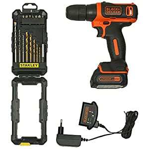 BLACK+DECKER BDCD12 STA7221 10.8V Li-Ion Cordless Drill, 3-Pieces with Stanley Titanium Drilling and Screw Driving Set (16-Pieces)