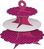 2er Set Pappetageren, Höhe: 26,7 cm mit 3 Ebenen, pink/weiß