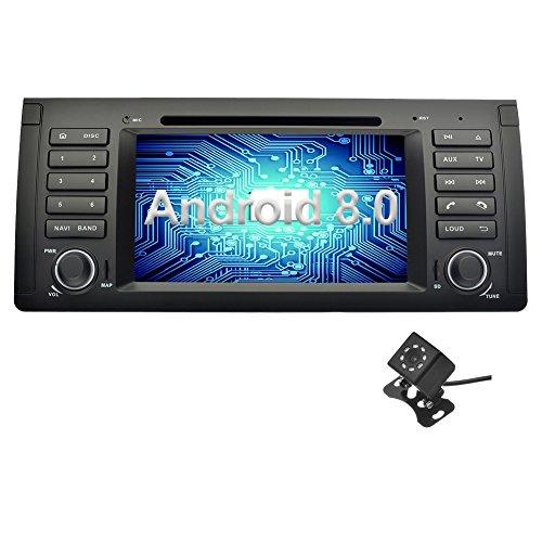 Ohok 7 Zoll Bildschirm 1 Din Autoradio Android 8.0.0 Oreo Octa Core 4G+32G Radio mit Navi Moniceiver DVD GPS Navigation Bluetooth DAB+ für BMW 5 E39 Series / X5 E53 Series mit Klein-Rückfahrkamera