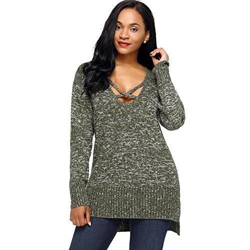 damen strickpullover beiläufig hohl v ausschnitt bluse pullovers lose tops lange ärmel elastizität retro sweatshirts . army green . (Retro Army Girl Kostüme)