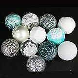 12 Stück Weihnachtskugeln aus Glas zum Hängen, Ø 8 cm in eisblau
