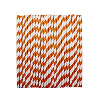 tecmac Eco-Friendly and Disposable White - Orange Stripes Paper Straws | 6 mm | 50 Pieces