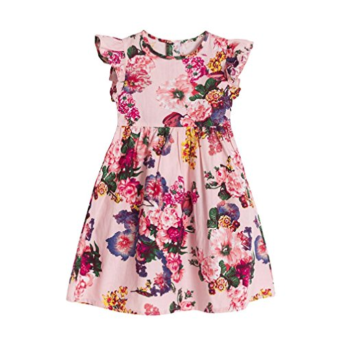 For 1-6 Years Old Kids Dress, Interent Baby Girls Kids Infant Toddle Floral Sleeveless Party Clothes Princess Dress 2018 new