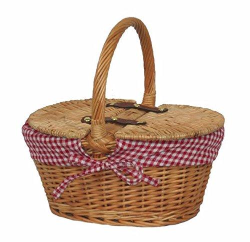 Picknick-Korb für Kinder, oval, gefüttert, mit Deckel