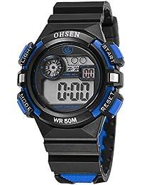 Reloj De Niños Niñas Electrónico Digital Con Alarma De Iluminación LED Impermeable Con Multifunción Cronómetro-Azul