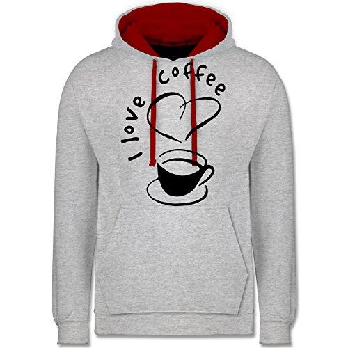 Küche - I Love Coffee - Kontrast Hoodie Grau Meliert/Rot