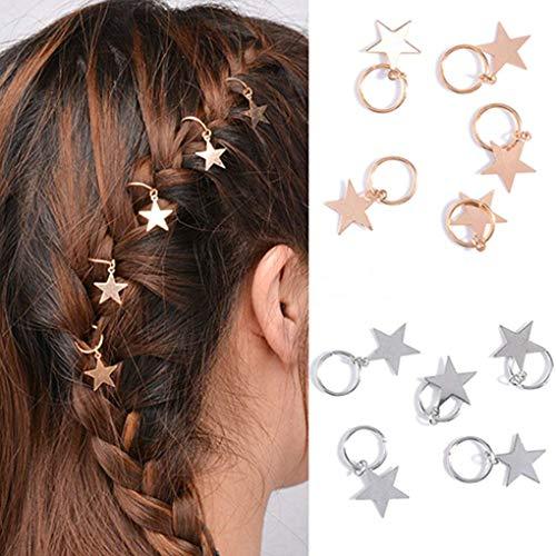 TOOGOO 10Pcs Anneaux De Cheveux etoiles D'Argent Et D'Or Pour Dame Filles Tresses Cheveux Poignets En Metal Decoration De Cheveux Bijoux De Cheveux De Tressage (etoiles D'Argent Et D'Or)