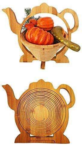 Cleanprince Schale 30 x 30 cm Teekanne Kaffeekanne Faltkorb Holzkorb Korb Bambus Obstkorb Obstschale...