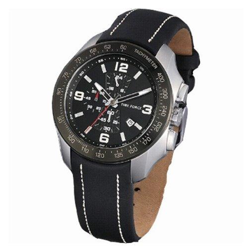 Time Force tf3272m01–Montre pour hommes, bracelet en cuir couleur noir