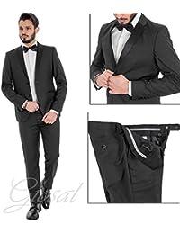 Giosal Completo Uomo Abito Elegante Tinta Unita Nero Giacca Pantaloni Slim fe99cba9aee4