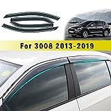 Jiahe per Peu geot 3008 2013-2018 4PCS Deflettori d'Aria per Auto Deflettore Pioggia Vento Bloccare Sole Deflettori d'Aria Antiturbo