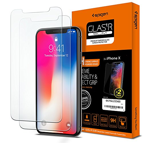 Spigen Dual Pack Glas tR Slim Apple iPhone X Tempered Glass -...