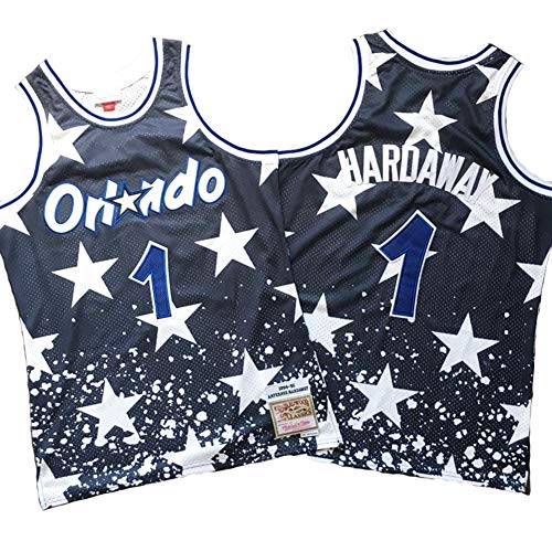 LSJ-ZZ Herren Trikot NBA Magic # 1 Hardaway Orlando Vintage All-Star-Trikot, kühles, atmungsaktives Material, ärmelloses Sportwesten-Oberteil für Basketballfans,XL:185cm/85~95kg