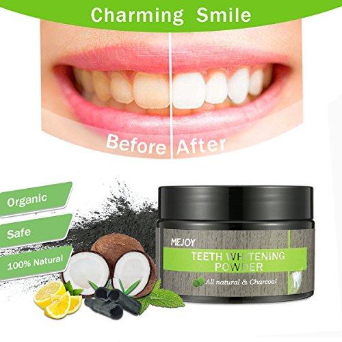 Polvo Dientes, Blanqueador Dental de Carbon Activado, LuckyFine Dientes Blancos Natural para los Black Dental Negra y Dientes Limpieza, Teeth Whitening COCO Powder 50g