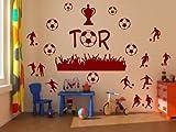 Stickerkoenig Wandtattoo Fußball, Fußballer 57 Teile - Pokal,Tor,Fans,etc, Fussbälle Farbe dunkelblau