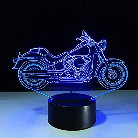 ZUIZU 3d Colorful Motorcycle Night Light Touch Electronic Products DecorativeLlights Creative Gift AA
