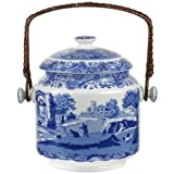 Spode Blue Italian 200th Anniversary sig. biscuit barrel / cookie jar with handle by Portmeirion