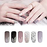 KADS Vernis UV Gel - Bling Soak Off Vernis à Ongles Gel Semi Permanent Nail Polish 9.5ml Couleur Nacre Glossy - Lot de 6