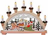 Fensterleuchte Deutsche Weihnacht Weihnachtsmann mit Schlitten mit LED Kerzen 35 x 45 cm
