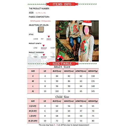 Camicia da famiglia di Natale - Mxssi Top Camicetta Bambini Mamma Camicie di Natale e fiocchi di neve Stampa Maglietta Cotone e abiti di pizzo Abbigliamento per il Natale Mom